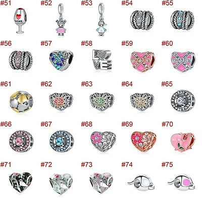 European Silver Charms Crystal XMAS Beads CZ Pendant Fit 925 Sterling Bracelets