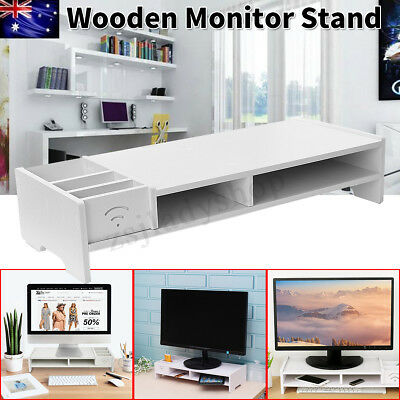 Computer Monitor Riser Save Space Desktop Stand Entertainment Center Storage