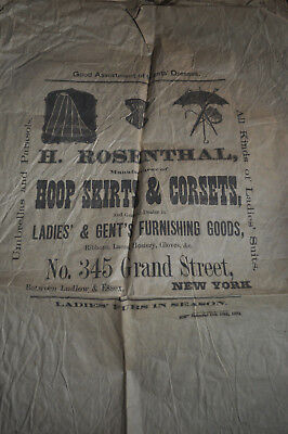 1871 Hoops Skirts & Corsets, Rosenthal Grand Street NY Advertising Packing Paper