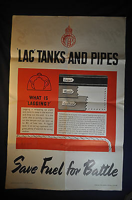 1943 WW2 Lag Tanks and Pipes Save Fuel for Winter Home Front UK Poster