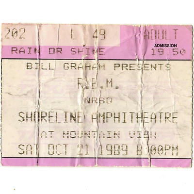 REM & NRBQ Concert Ticket Stub MOUNTAIN VIEW CA 10/21/89 SHORELINE GREEN TOUR