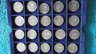 JOB LOT OF 20 QE 11 UNCIRCULATED HALF CROWNS COMPLETE WITH COIN TRAY  99p