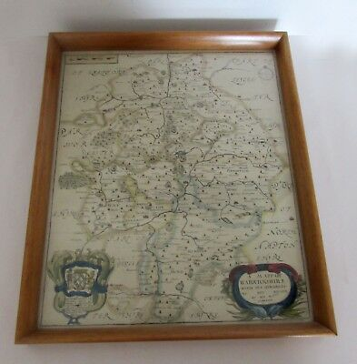 1673 Antique RICHARD BLOME Map WARWICKSHIRE Copper Plate Hand Coloured Framed