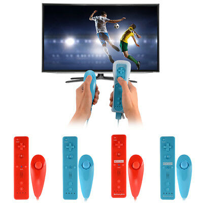 2in1 Remote and Nunchuck Controller with Motion Plus for Nintendo Wii Blue/Red