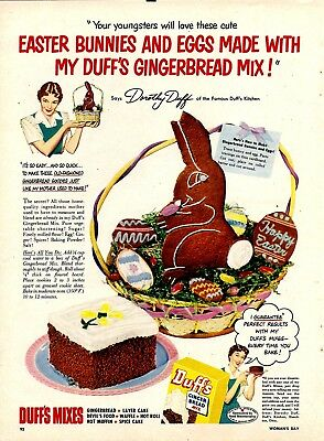 1951 DUFFS Gingerbread AD ~Easter Bunny Cake~Baking~Retro Vintage Food Kitchen