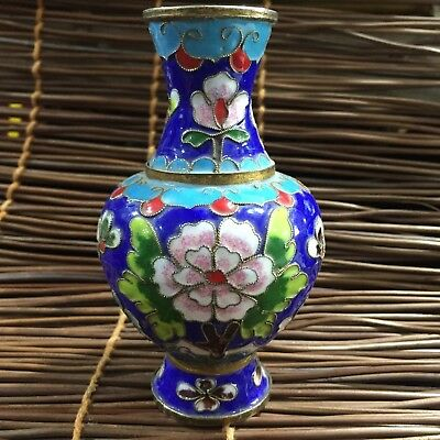 Collectible Rare Chinese Handwork Old Cloisonne King Peony Flowers big Vase