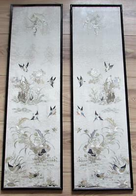 Mirror Pair Of Antique Chinese Silk Hand Embroidered Panels - Birds