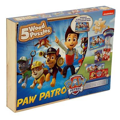 Paw Patrol 5 x Wooden Puzzle Box Childrens/Kids Wood Jigsaw Set