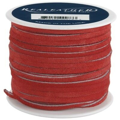 Realeather Crafts Suede Lace, 0.125-inch Wide And 25-yard Spool, Red - Lace