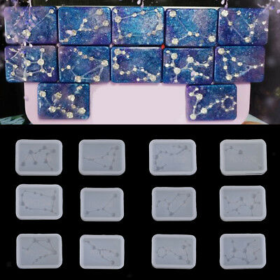 12x Silicone DIY Constellation Pendant Tags Mold Resin Craft Ornament Mould