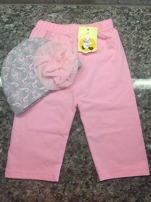 Pink & Gray - NWOT Baby Essential Hat & NWT 3-6 Months Pants