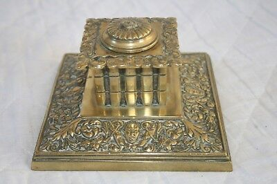 Antique Art Nouveau Solid Cast Brass Inkwell