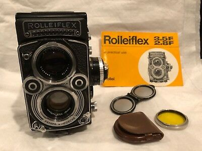 Rollei Rolleiflex Model 3.5F TLR Camera with Zeiss Planar 75mm lens and meter.