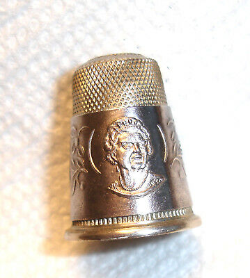 "Scarce .835 Sterling Silver Queen & Crown Tall Thimble 1"" Excl.Round Size 10"