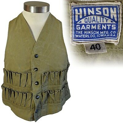 Vintage 1940s Hinson Hunting Vest Green Canvas Snap Front 40
