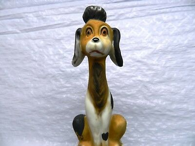 "Vintage price porcelain funny dog figurine Poodle brown white 5.5"" tall sitting"