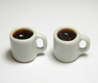Doll Mini Tiny Cup Drink Play Food 4 Dollhouse Miniature Mugs of Black Coffee
