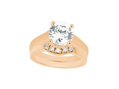 Genuine 0.80Ct Round Cut Diamond Engagement Ring Set Solid 18k Gold G SI1