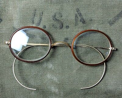 Vintage 1920s 1930s windsor bridge oval eyeglasses glasses brown gold