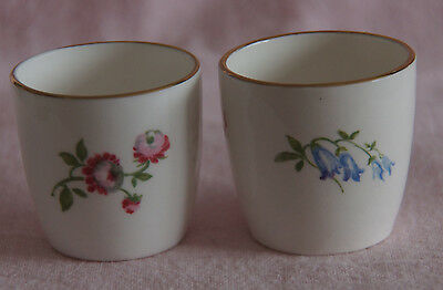 CROWN STAFFORDSHIRE ENGLAND EGG CUP x 2 - FINE BONE CHINA FLOWERS GOLDEN RIM
