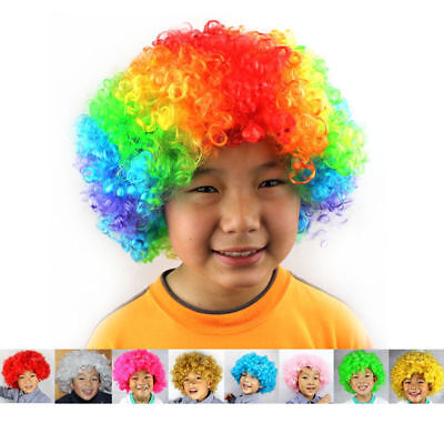Party Disco Rainbow Afro Clown Hair Football Fan Adult Child Costume Curly