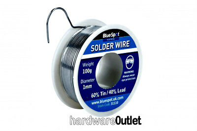 BlueSpot 31110 100g Flux covered electric SOLDER WIRE 60-40 tin iron