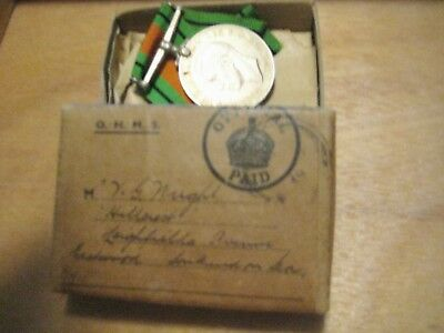 WWII British Defence Medal with original mailing box