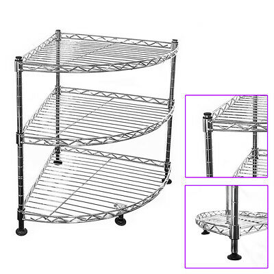 45x35x35cm Real Chrome Corner Wire Rack Metal Steel Kitchen Shelving Racks UKDC
