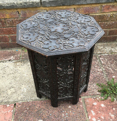 FAB ANTIQUE octagonal 19th/20thc hand carved FOLDING  ANGLO/ INDIAN   SIDE TABLE