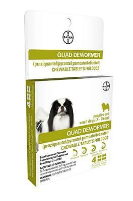 Bayer Quad Dewormer For Small Dogs 2 - 25 Pounds ~ NEW