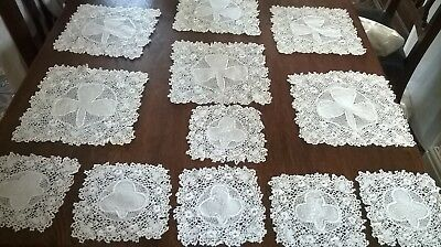 Matching Set Of 12  Vintage  Irish Crochet Doilies With Embroidery