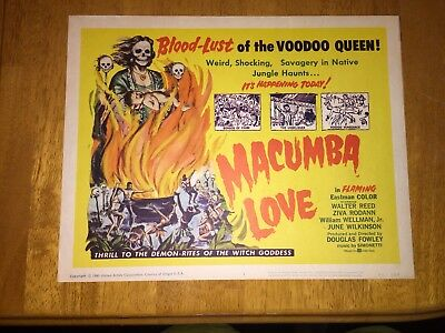 Macumba  Love Title Lobby Card  1960 Voodoo Cult Classic  Vf Plus June Wilkinson