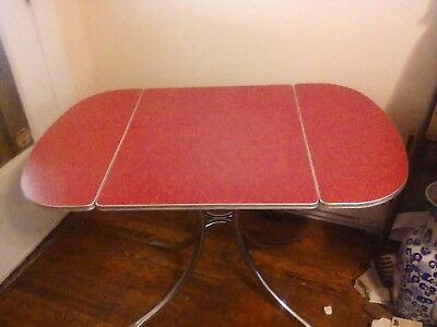Vintage Formica & Chrome Red Patterned Drop Leaf Table