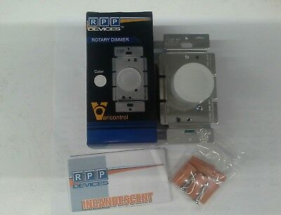 White 3-Way Rotary Push ON/OFF Light Dimmer Switch 600W 120VAC