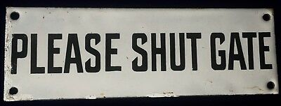 Rare Find Original Antique Black & White Enamel Sign PLEASE SHUT GATE C1920 b