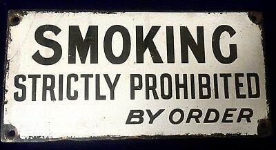 Rare Find Original Antique Black & White Enamel Sign SMOKING PROHIBITED C1925