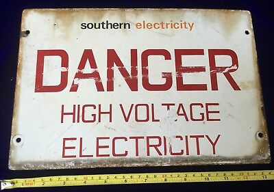 Rare Find Original Vintage Enamel Southern Electricity Danger Sign