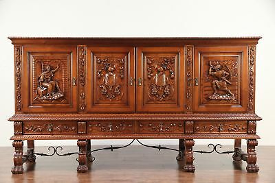 Spanish Colonial Vintage Sideboard, China or Bar Cabinet, Signed Marco #29582