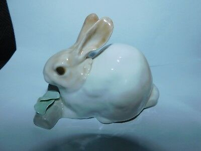 """Lladro """"Rabbit Eating"""" #4772 ~ RETIRED ~ Bunny with a Log and Flowers"""
