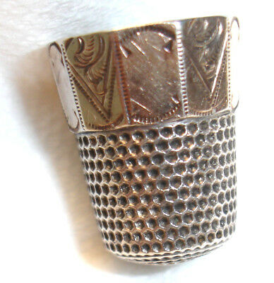 Waite-Thresher #10 Gold Overlay Sterling Antique Thimble-5 Point Star-Excellent