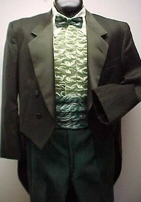 LORD WEST GREEN CROSSWEAVE TAIL TUX JACKET or 4pc  MENS TUXEDO PROM WEDDING