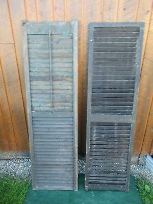 "VINTAGE Old 2 SHUTTERS Wooden 63"" long x 18"" Wide Architectural Salvage"