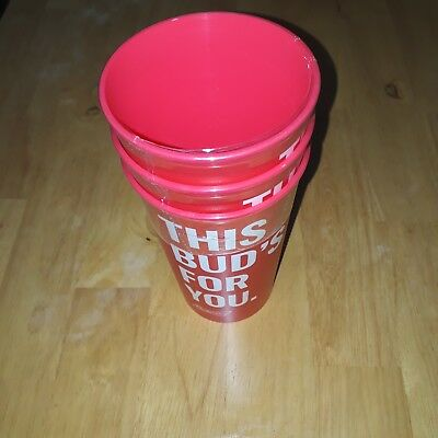 New This Buds For You Budweiser Red Plastic Cups Set Of Three 16oz