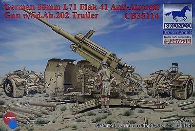 BRONCO CB35114 German 88mm L71 Flak 41 Anti-Aircraft Gun w/Sd.Ah.202 in 1:35