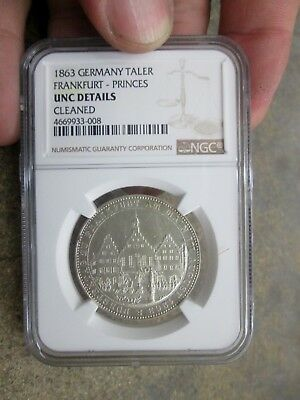 1863 German States Frankfurt One Thaler Silver Coin NGC UNC Details Cleaned NR