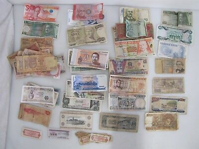 Large Mixed Lot of International Paper Bills Foreign Money Spending/Collecting