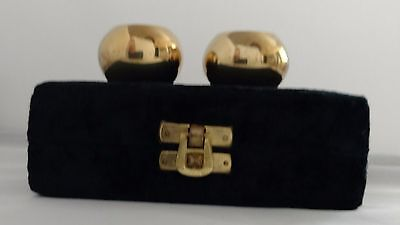The Rosenthal~Judaica Collection~Brass Candle Holders~Round Ball~In Velvet Box
