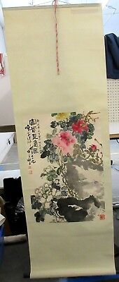 Vintage Chinese Scroll Paper Mounted To Silk Sumi Ink Flowers Stamped