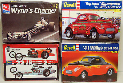 Lot of 4 Drag Race 1/25 Scale Model Kits Started