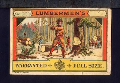 1880 Loggers LUMBERJACK Workwear Clothing Tag NORTH WOODS Logging S S & Co Label